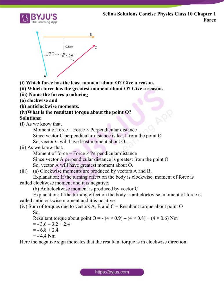 Selina Solutions Concise Physics Class 10 Chapter 1 Force 3
