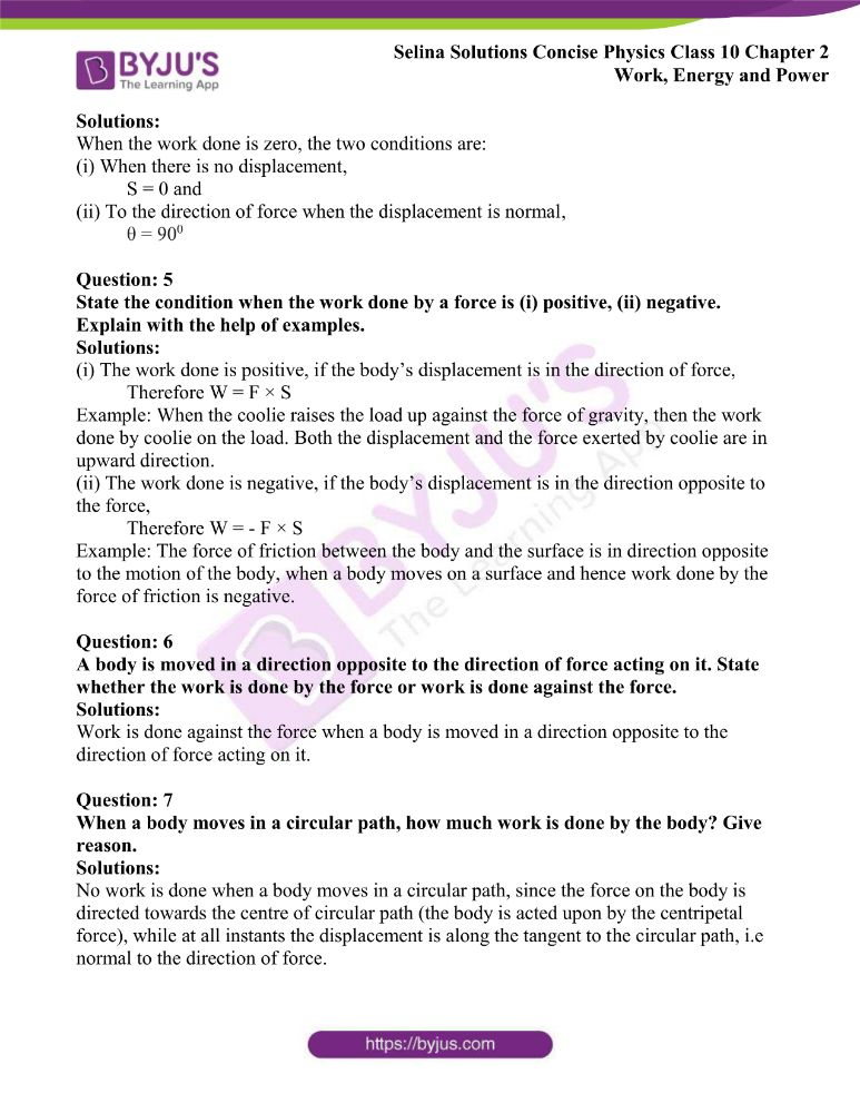 Selina Solutions Concise Physics Class 10 Chapter 2 Work Energy and Power 1