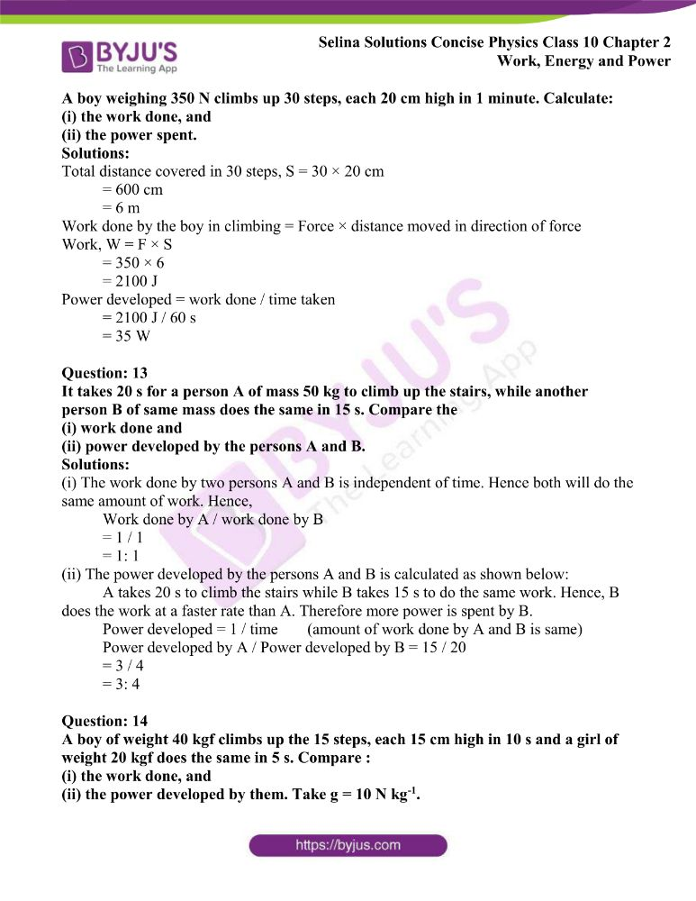 Selina Solutions Concise Physics Class 10 Chapter 2 Work Energy and Power 13