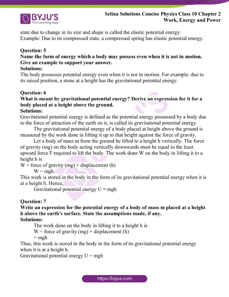 Selina Solutions Concise Physics Class 10 Chapter 2 Work Energy and Power 17