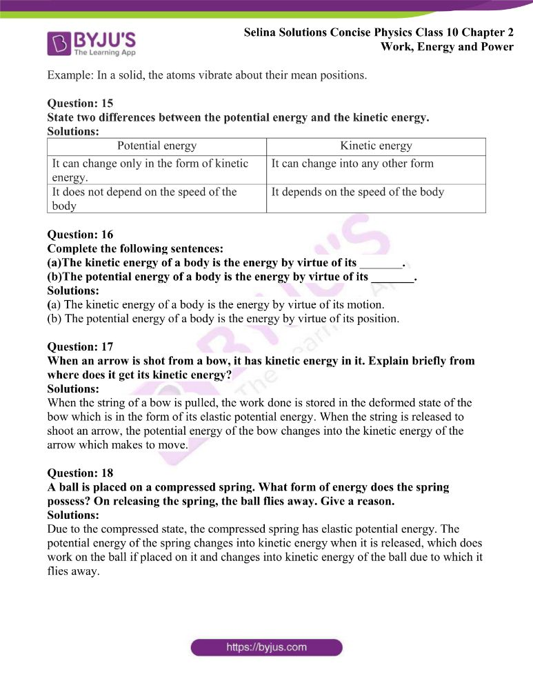 Selina Solutions Concise Physics Class 10 Chapter 2 Work Energy and Power 20