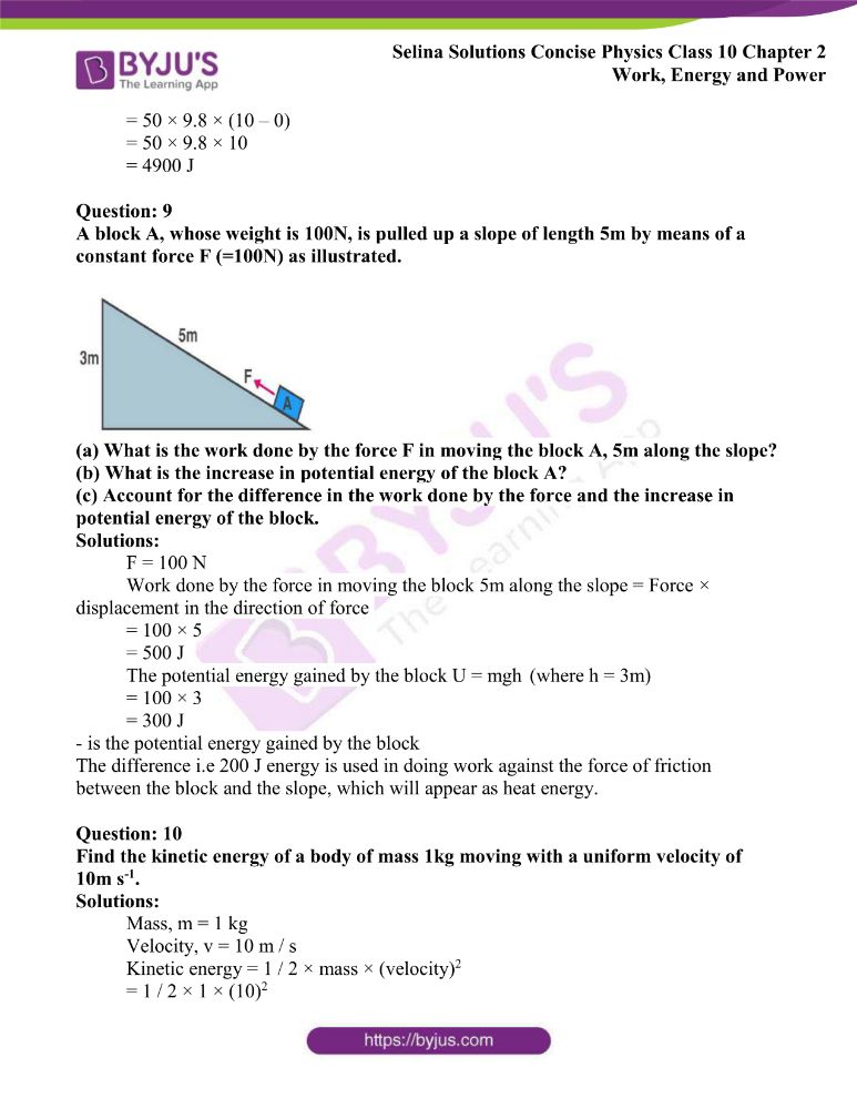 Selina Solutions Concise Physics Class 10 Chapter 2 Work Energy and Power 28