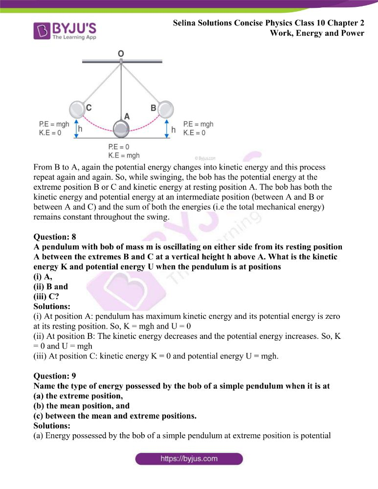 Selina Solutions Concise Physics Class 10 Chapter 2 Work Energy and Power 38