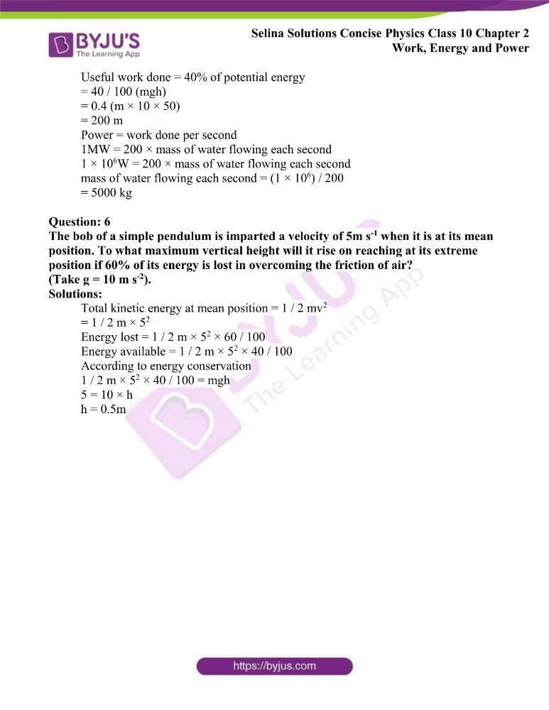 Selina Solutions Concise Physics Class 10 Chapter 2 Work Energy and Power 42