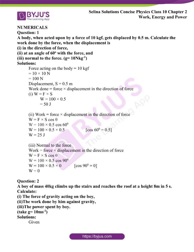 Selina Solutions Concise Physics Class 10 Chapter 2 Work Energy and Power 8