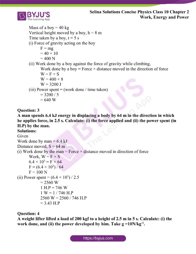 Selina Solutions Concise Physics Class 10 Chapter 2 Work Energy and Power 9