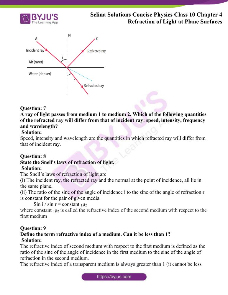 Selina Solutions Concise Physics Class 10 Chapter 4 Refraction of Light at Plane Surfaces 2