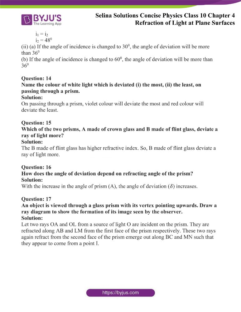 Selina Solutions Concise Physics Class 10 Chapter 4 Refraction of Light at Plane Surfaces 20