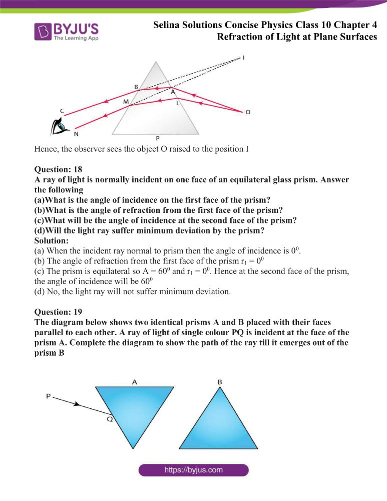 Selina Solutions Concise Physics Class 10 Chapter 4 Refraction of Light at Plane Surfaces 21