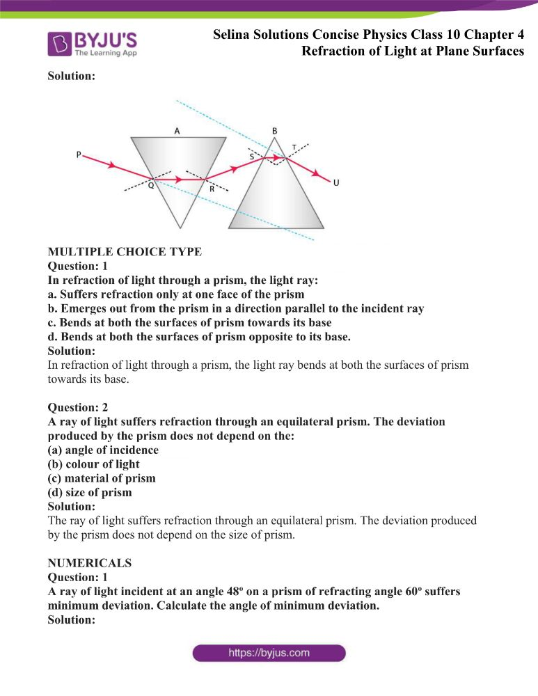 Selina Solutions Concise Physics Class 10 Chapter 4 Refraction of Light at Plane Surfaces 22
