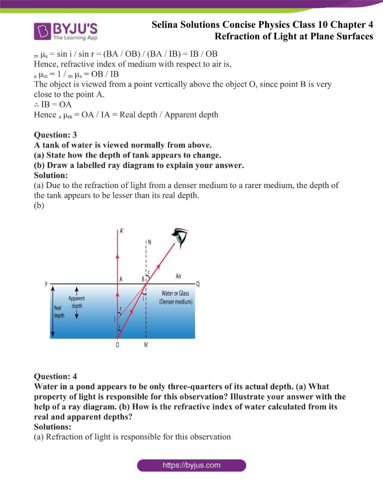 Selina Solutions Concise Physics Class 10 Chapter 4 Refraction of Light at Plane Surfaces 25