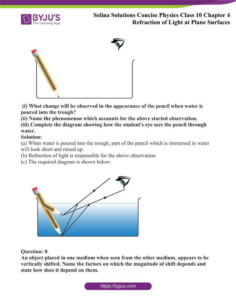 Selina Solutions Concise Physics Class 10 Chapter 4 Refraction of Light at Plane Surfaces 28