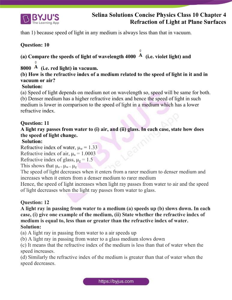 Selina Solutions Concise Physics Class 10 Chapter 4 Refraction of Light at Plane Surfaces 3