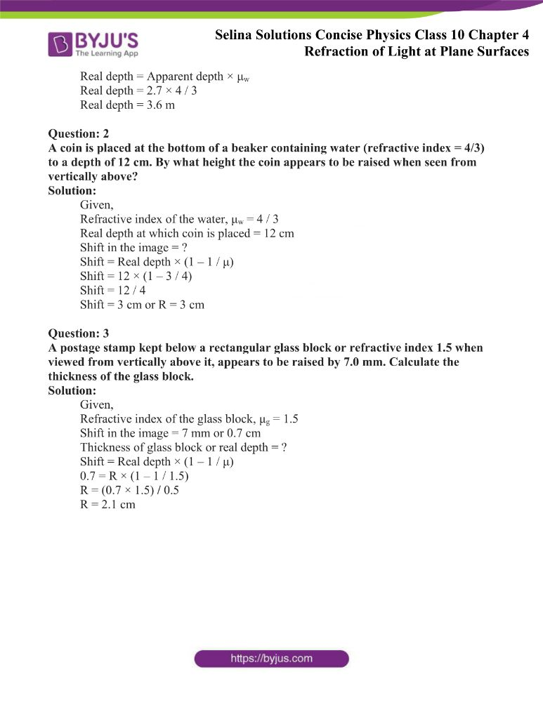 Selina Solutions Concise Physics Class 10 Chapter 4 Refraction of Light at Plane Surfaces 30