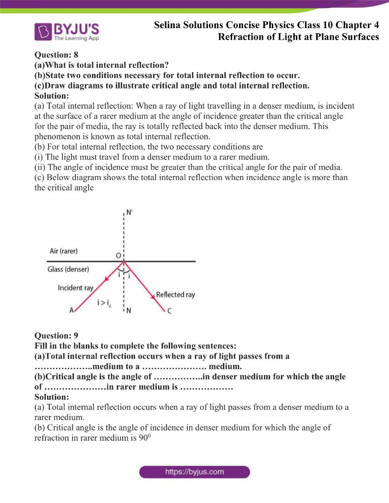 Selina Solutions Concise Physics Class 10 Chapter 4 Refraction of Light at Plane Surfaces 33