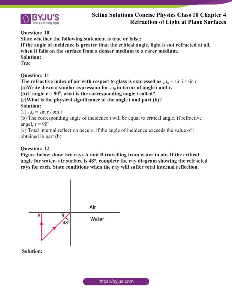 Selina Solutions Concise Physics Class 10 Chapter 4 Refraction of Light at Plane Surfaces 34