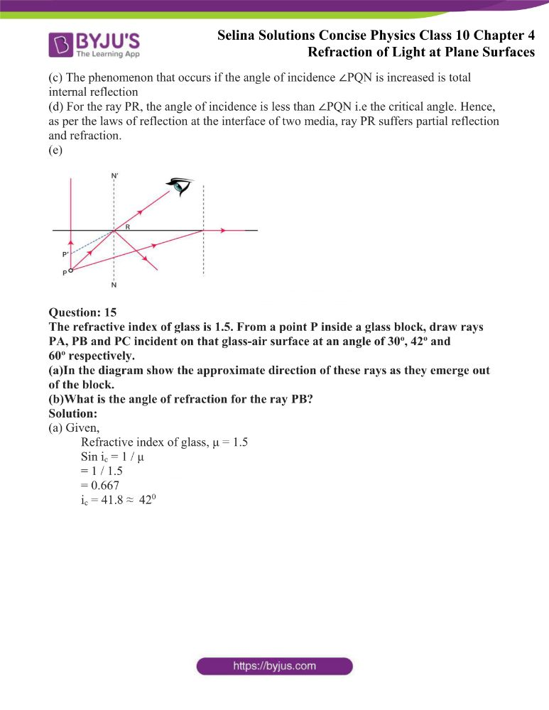 Selina Solutions Concise Physics Class 10 Chapter 4 Refraction of Light at Plane Surfaces 37