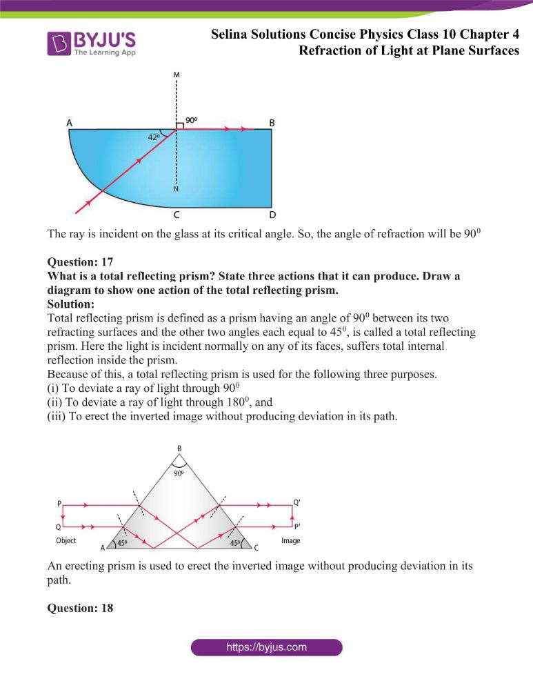 Selina Solutions Concise Physics Class 10 Chapter 4 Refraction of Light at Plane Surfaces 39