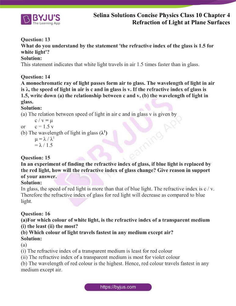 Selina Solutions Concise Physics Class 10 Chapter 4 Refraction of Light at Plane Surfaces 4