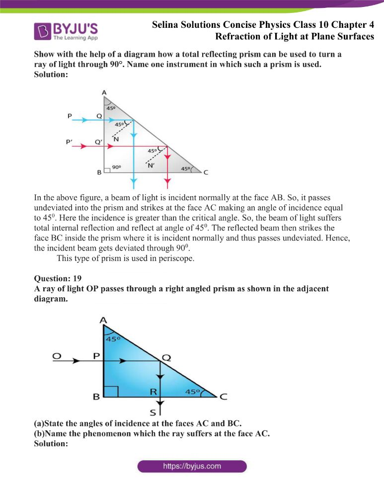 Selina Solutions Concise Physics Class 10 Chapter 4 Refraction of Light at Plane Surfaces 40