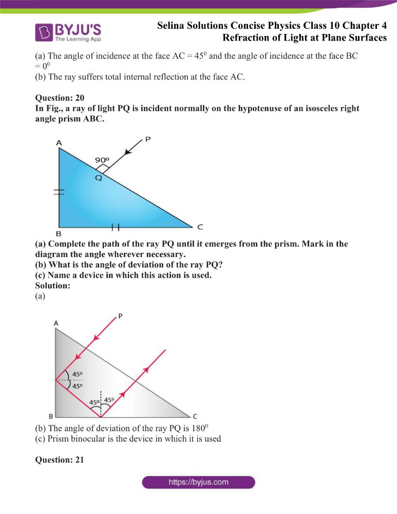 Selina Solutions Concise Physics Class 10 Chapter 4 Refraction of Light at Plane Surfaces 41