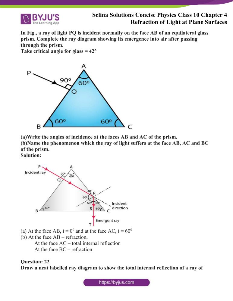 Selina Solutions Concise Physics Class 10 Chapter 4 Refraction of Light at Plane Surfaces 42