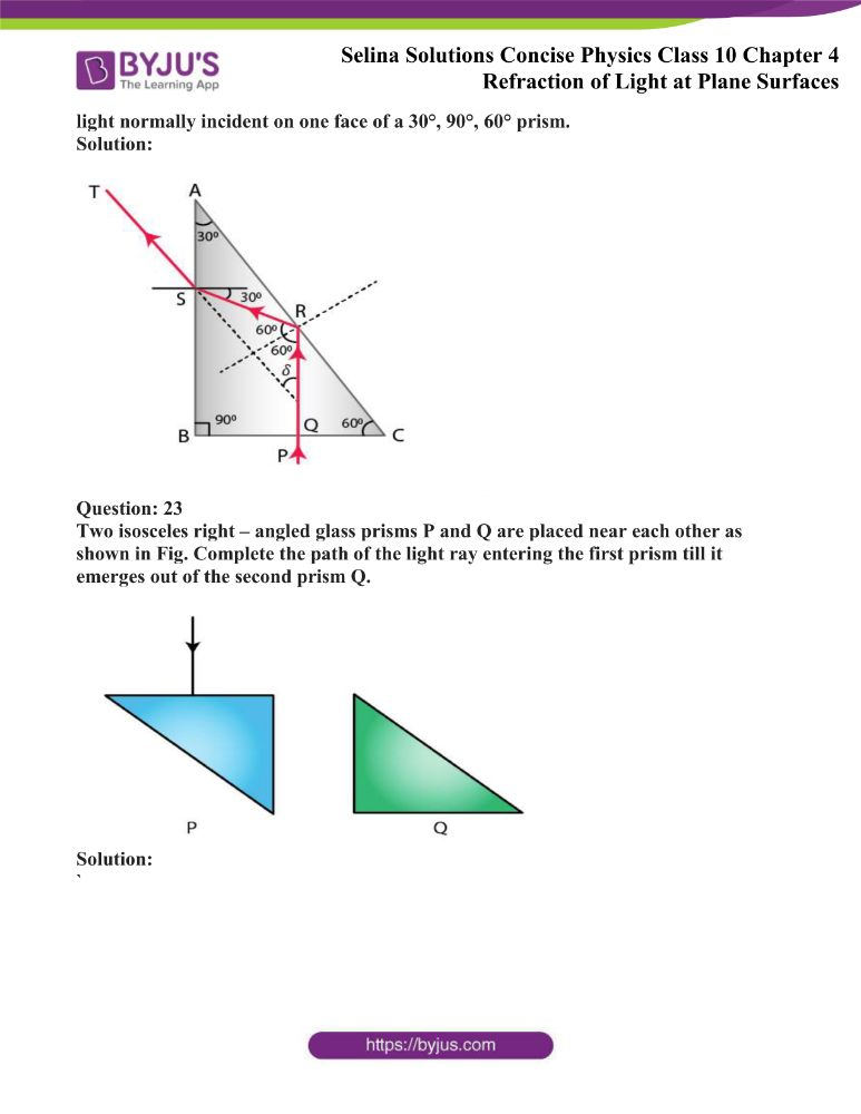 Selina Solutions Concise Physics Class 10 Chapter 4 Refraction of Light at Plane Surfaces 43