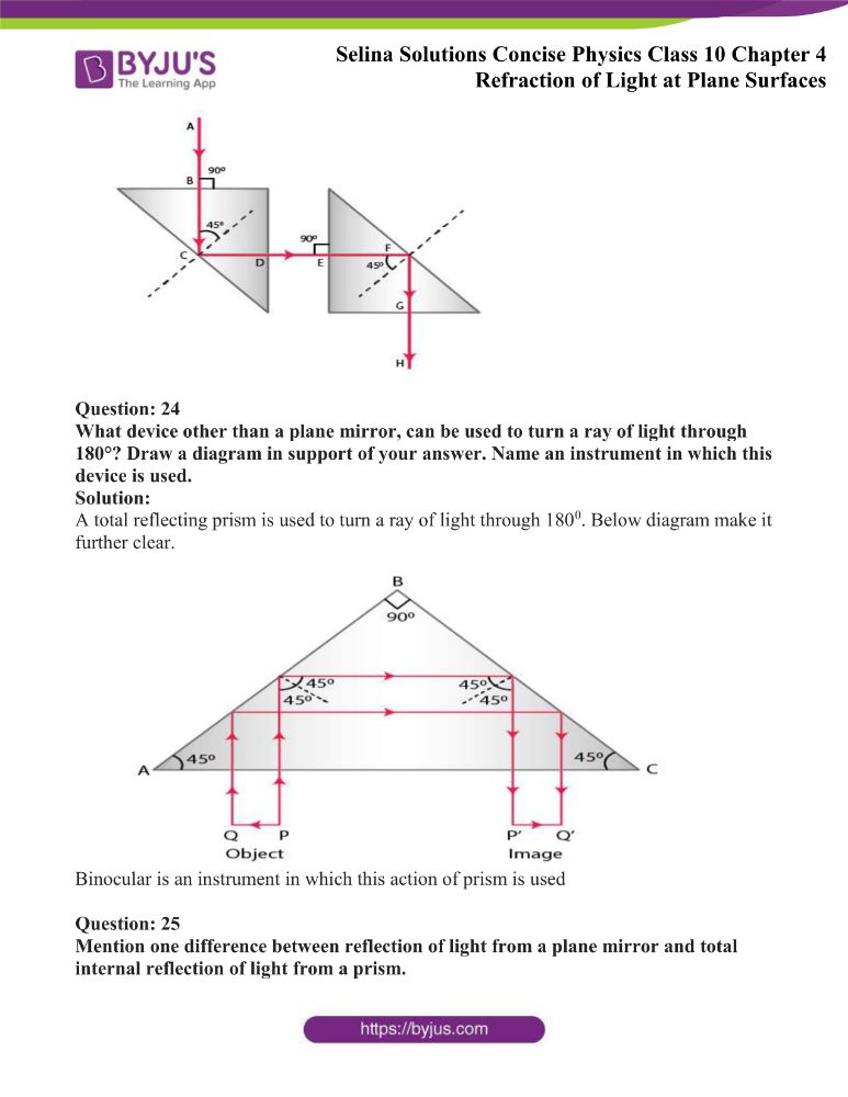 Selina Solutions Concise Physics Class 10 Chapter 4 Refraction of Light at Plane Surfaces 44