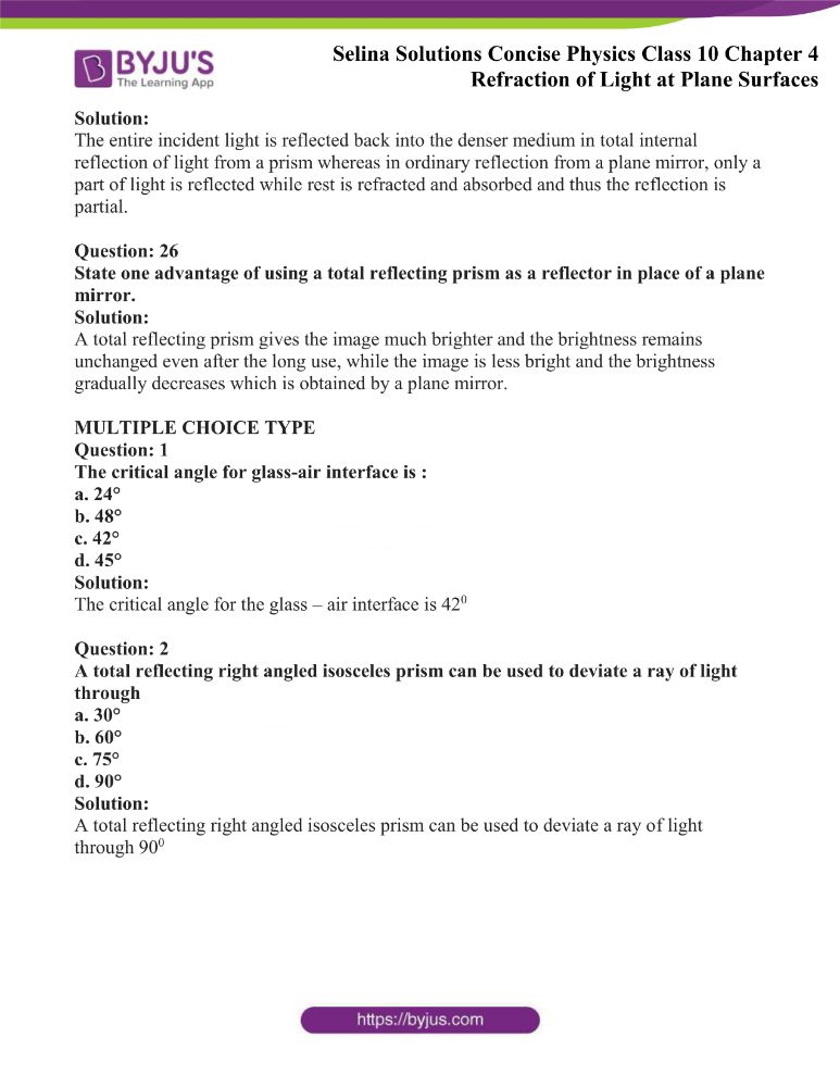 Selina Solutions Concise Physics Class 10 Chapter 4 Refraction of Light at Plane Surfaces 45
