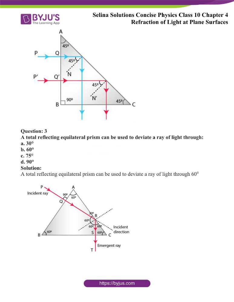 Selina Solutions Concise Physics Class 10 Chapter 4 Refraction of Light at Plane Surfaces 46
