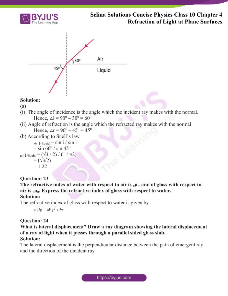 Selina Solutions Concise Physics Class 10 Chapter 4 Refraction of Light at Plane Surfaces 7