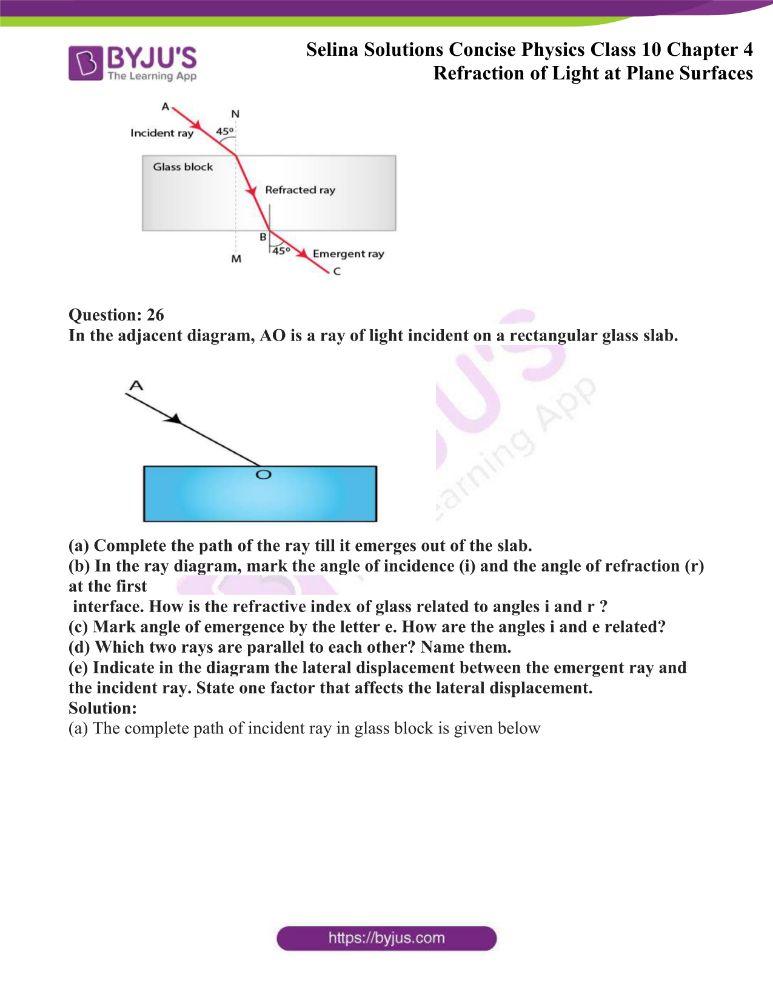 Selina Solutions Concise Physics Class 10 Chapter 4 Refraction of Light at Plane Surfaces 9