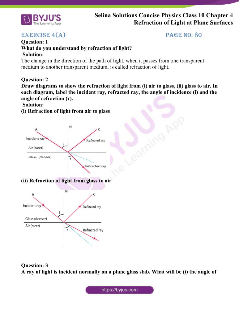 Selina Solutions Concise Physics Class 10 Chapter 4 Refraction of Light at Plane Surfaces