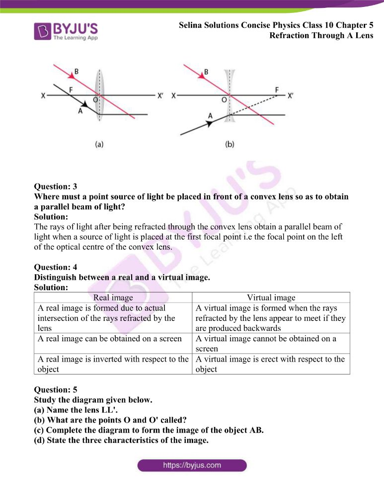 Selina Solutions Concise Physics Class 10 Chapter 5 Refraction Through A Lens 18