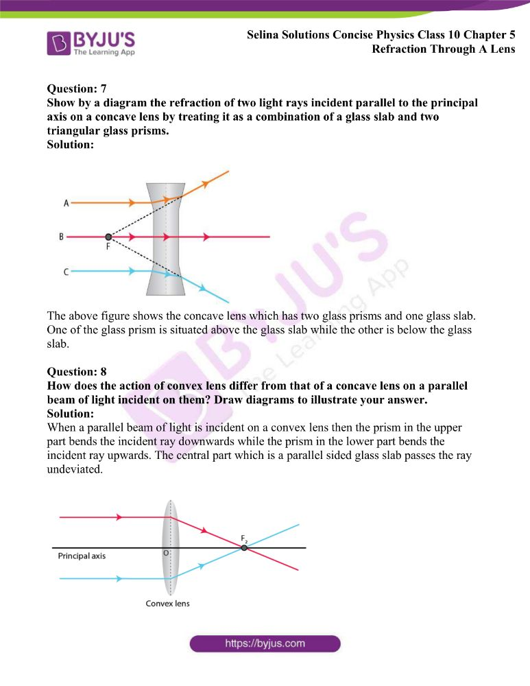 Selina Solutions Concise Physics Class 10 Chapter 5 Refraction Through A Lens 2