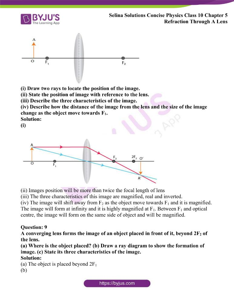 Selina Solutions Concise Physics Class 10 Chapter 5 Refraction Through A Lens 22