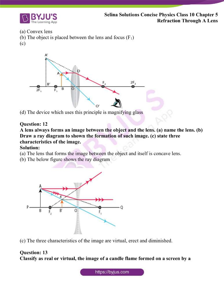 Selina Solutions Concise Physics Class 10 Chapter 5 Refraction Through A Lens 24