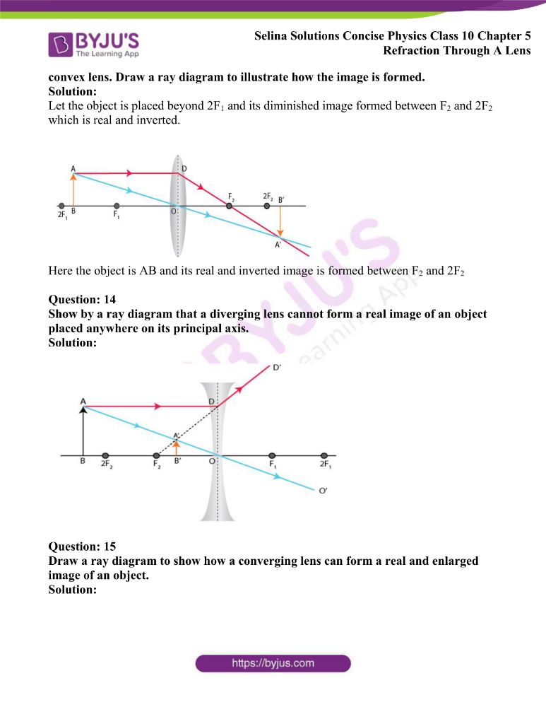 Selina Solutions Concise Physics Class 10 Chapter 5 Refraction Through A Lens 25