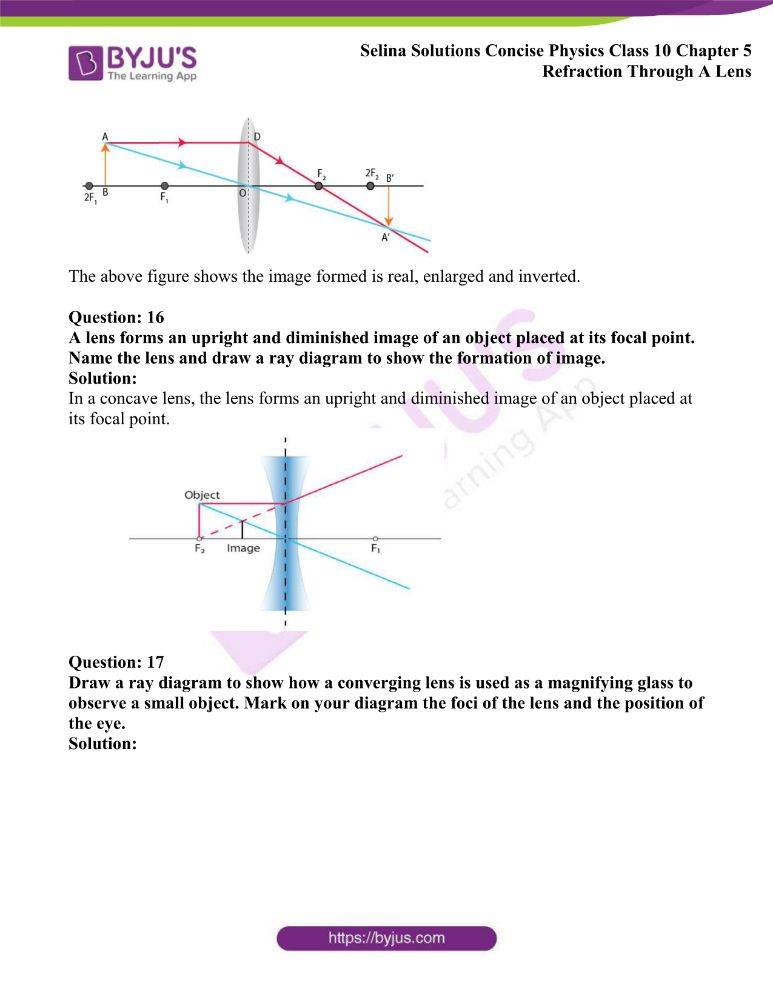 Selina Solutions Concise Physics Class 10 Chapter 5 Refraction Through A Lens 26