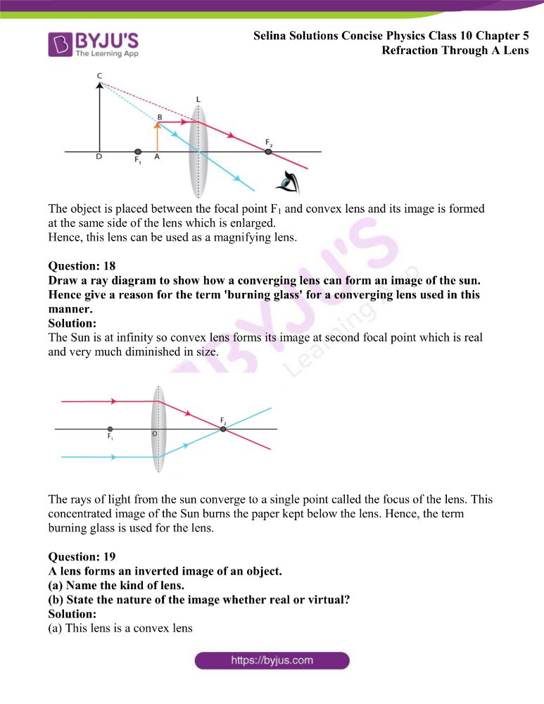 Selina Solutions Concise Physics Class 10 Chapter 5 Refraction Through A Lens 27