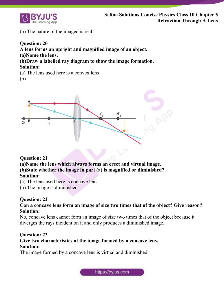 Selina Solutions Concise Physics Class 10 Chapter 5 Refraction Through A Lens 28
