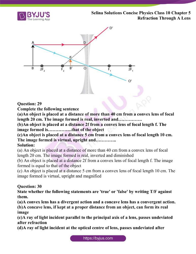 Selina Solutions Concise Physics Class 10 Chapter 5 Refraction Through A Lens 33