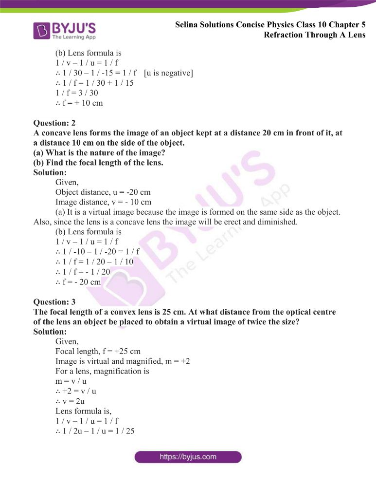 Selina Solutions Concise Physics Class 10 Chapter 5 Refraction Through A Lens 39