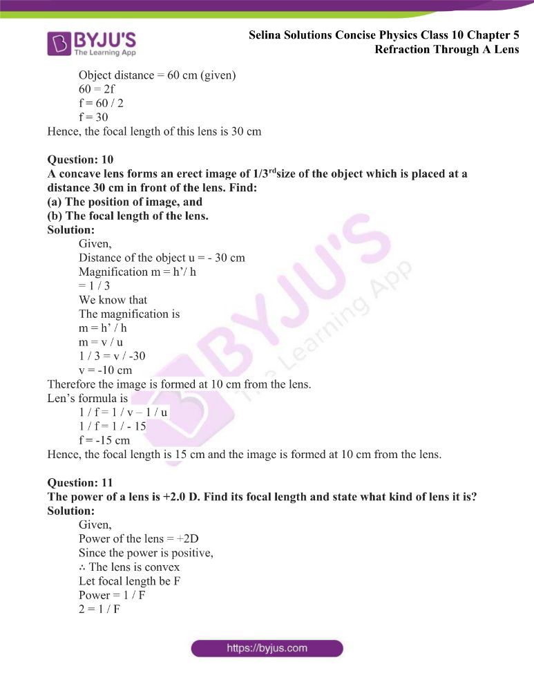 Selina Solutions Concise Physics Class 10 Chapter 5 Refraction Through A Lens 43