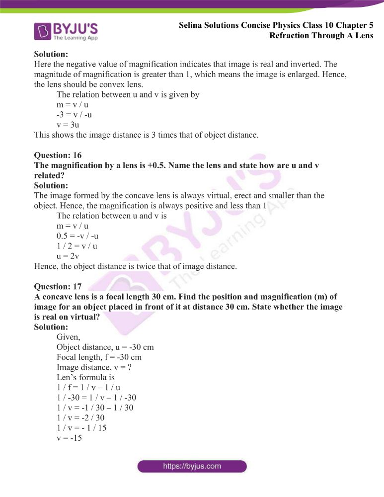 Selina Solutions Concise Physics Class 10 Chapter 5 Refraction Through A Lens 45