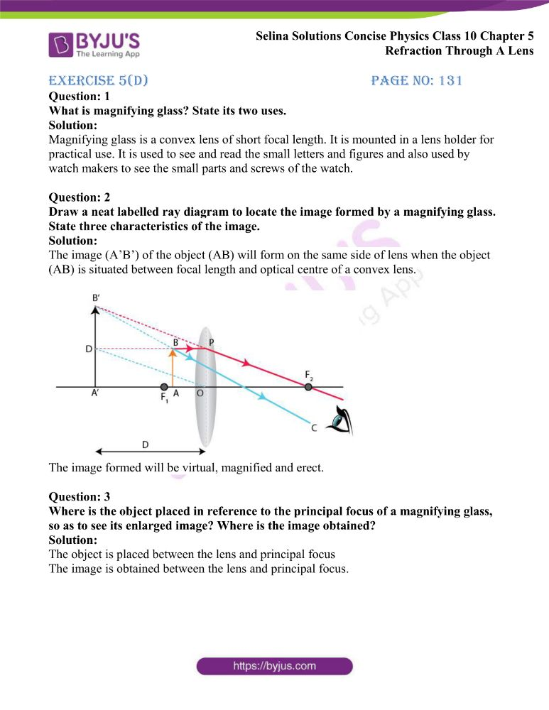 Selina Solutions Concise Physics Class 10 Chapter 5 Refraction Through A Lens 47