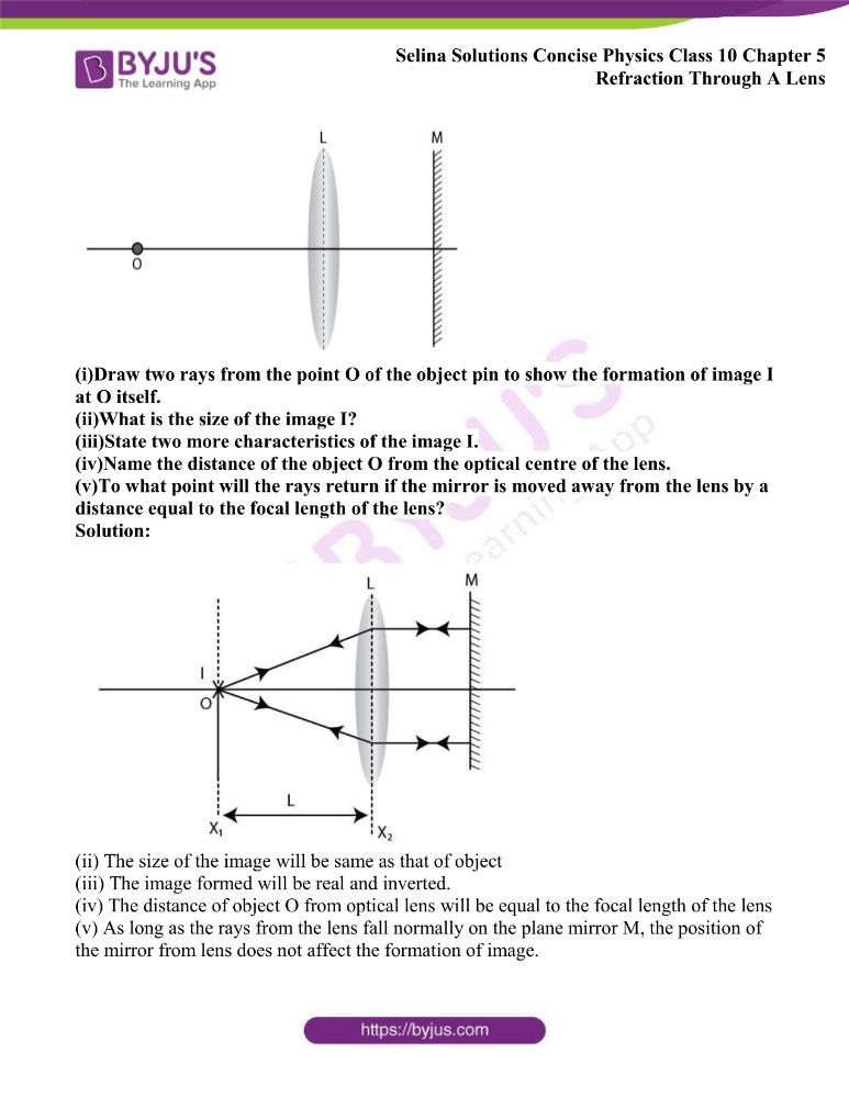 Selina Solutions Concise Physics Class 10 Chapter 5 Refraction Through A Lens 50