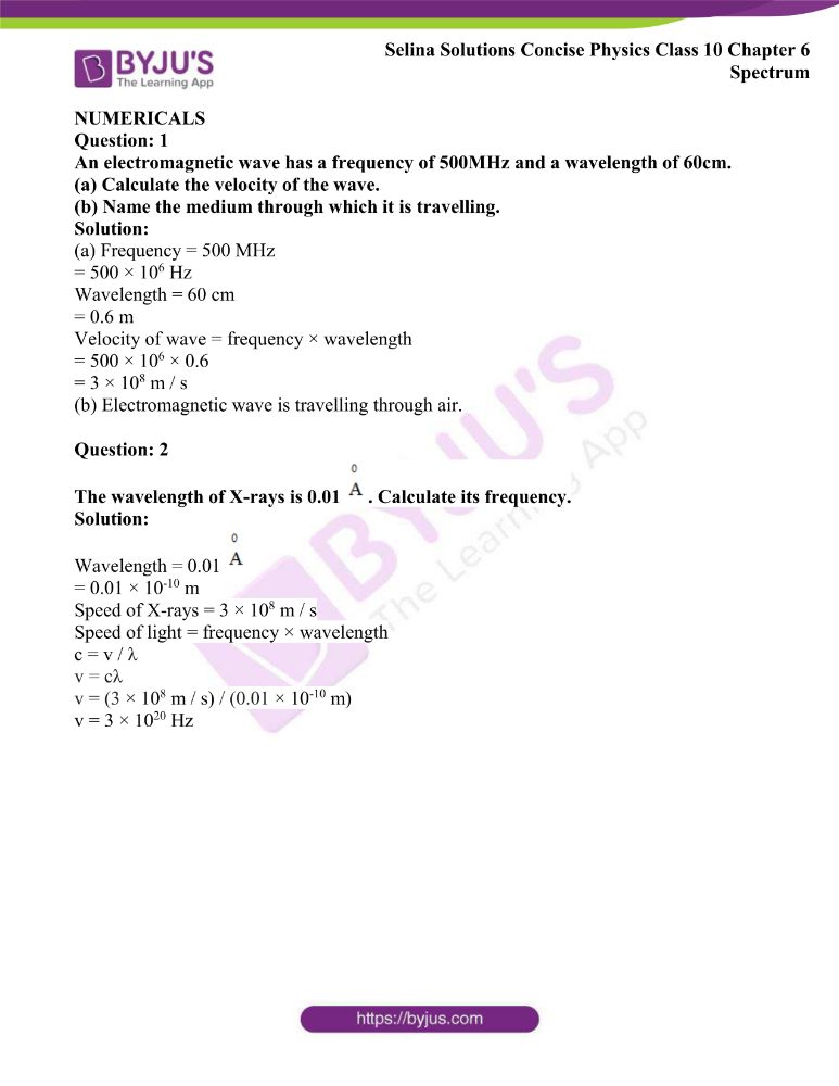 Selina Solutions Concise Physics Class 10 Chapter 6 Spectrum 16