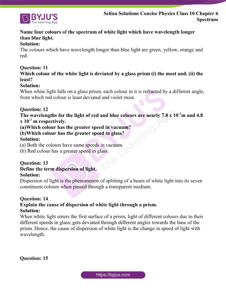 Selina Solutions Concise Physics Class 10 Chapter 6 Spectrum 2