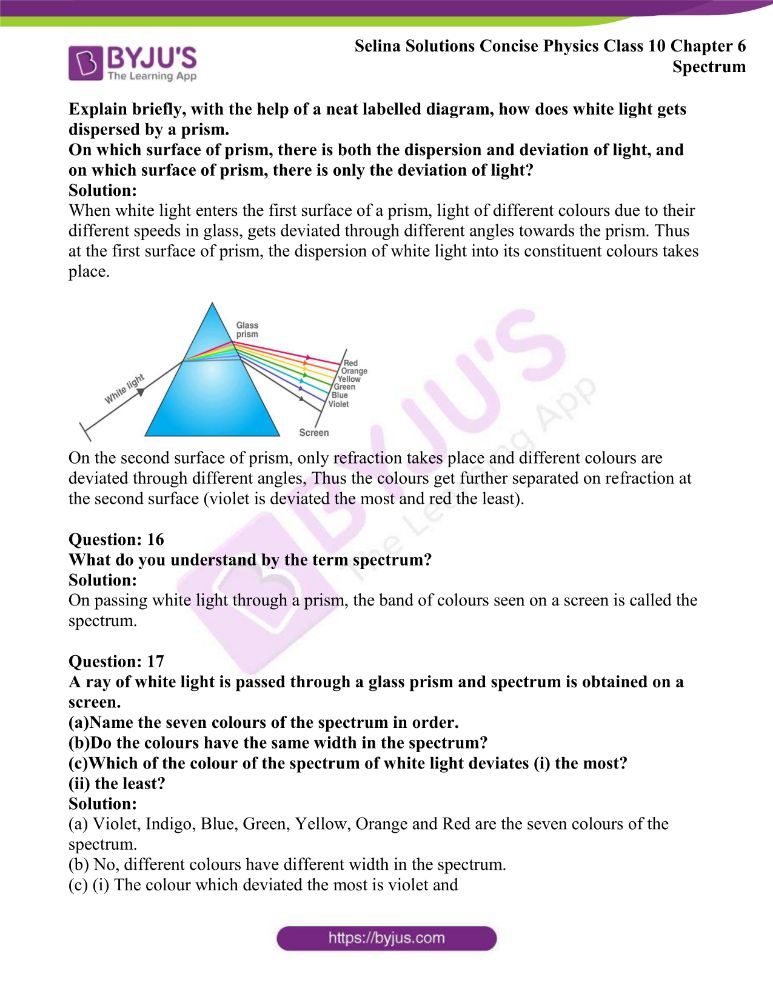 Selina Solutions Concise Physics Class 10 Chapter 6 Spectrum 3